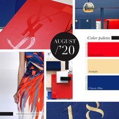 Pantone Colors: Flame Scarlet, Sunlight, Classic Blue -- Follow Paper Couture Studio on Instagram and Facebook! @papercouturestudio -- August Colors, Latest Colour, Couture, Pantone Color, Color Trends, Scarlet, Sunlight, Palette, Boards
