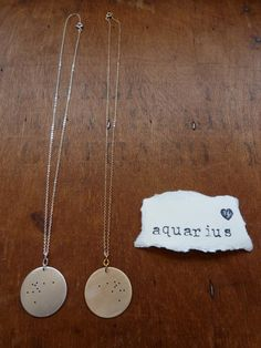 Aquarius. Zodiac Constellation Pendant Necklace. $40.00, via Etsy.