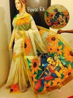 Kerala cotton sarees with hand painting