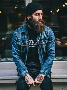 Ricky Hall / Denim / Urban fashion / Beard N Tattoos Gentleman Mode, Gentleman Style, Hipster Fashion, Denim Fashion, Male Fashion, Urban Fashion, Hipster Stil, Style Masculin, Epic Beard