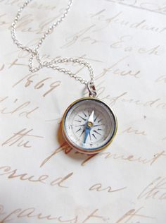 NEW YEAR SALE Victorian 1896 Working Sterling Silver Compass Necklace