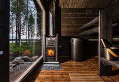 Traditional wood-heated sauna with the most amazing view & Harvia 20 Pro sauna heater. Rustic Saunas, Modern Saunas, Diy Sauna, Sauna House, Sauna Room, Sauna Heater, Outdoor Sauna, Sauna Design, Finnish Sauna