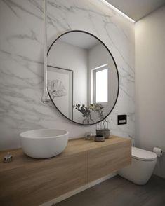 "2,550 Me gusta, 17 comentarios - Vibeke J Dyremyhr (@interior_delux) en Instagram: ""Oversized round mirror ⚪️ Love it!  #bathroom #roundmirror #mirror #bathroomdesign #baderom…"""