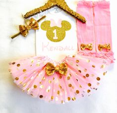 Personalized pink and gold minnie mouse first birthday outfit, Pink and gold minnie birthday outfit, pink gold first birthday minnie outfit by ASweetBabyBoutique on Etsy https://www.etsy.com/listing/286148357/personalized-pink-and-gold-minnie-mouse