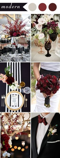 modern wedding themes ideas in color burgundy and black