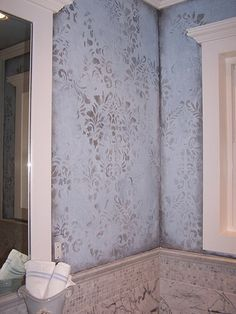 This Fabric Damask Wall Stencil is one of our most popular stencil patterns! All of our allover and damask stencil patterns feature an easy stencil registration system, allowing you to repeat these st Damask Wall Stencils, Damask Decor, Stencil Fabric, Stenciling, Fabric Walls, Stencil Patterns, Faux Painting Walls, Faux Walls, Textured Walls