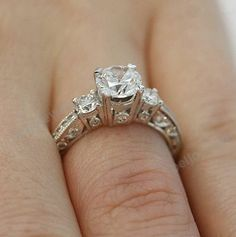 4 Prong 14K White Gold Finish 925 Silver Three Stone Women's Engagement Ring #beijojewels #ThreeStoneEngagementRing #EngagementWeddingAnniversaryPromiseValentine