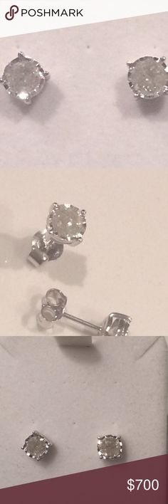 🎉💎$2000 Miracle Plate Diamond Studs 10k 1.00Cttw Classic 10k White Gold 1.00ct Round Cut Diamond Stud Earrings MSRP: $2000   Pair Diamond Earrings Total  Weight 1.00ct Metal. White Gold Hallmark. 10K Size 4.93 MM Cut. Round Color. H Clarity. I1 Type. Stud Back. Post With Friction Certified. Independent Gemological Lab Jewelry Earrings