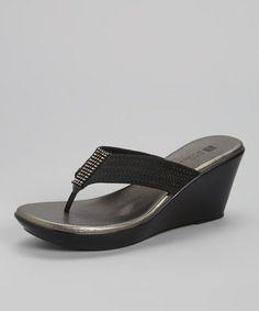 Loving this Black Risso Wedge Sandal on #zulily! #zulilyfinds