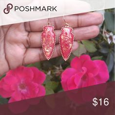 Red opal stone earrings! Gorgeous red and gold opal stone earrings in a arrowhead design. Jewelry Earrings