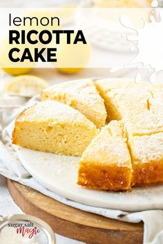 Buttery, creamy and incredibly moist, this Lemon Ricotta Cake recipe is a lemon lovers dream. With a soft and luscious texture, this zesty lemon cake is very easy to make – all in just one bowl. Lemon Ricotta cake has a simplicity that means it can be served as a morning or afternoon tea snack with a hot cup of coffee, but it's texture makes it just as perfect as an indulgent after-dinner dessert.#sugarsaltmagic #lemoncake #lemonricottacake #ricottacake. Easy Cookie Recipes, Tart Recipes, Cupcake Recipes, Baking Recipes, Flourless Chocolate, Chocolate Recipes, Lemon Ricotta Cake, Semolina Cake, Tea Snacks