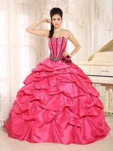 1a1080b6b96 Hot Pink Beaded and Hand Made Flowers Quinceanera Gowns with Pick-ups Sweet  15 Dresses