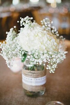 This Pin was discovered by Kimberly Caille. Discover (and save!) your own Pins on Pinterest.   See more about burlap lace, white hydrangeas and mason jars.