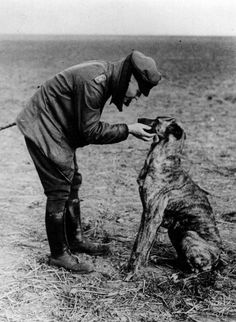 """German Flying Ace, """"The Red Baron"""" and his dog, 1916"""