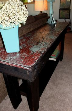 This sofa table is such rustic yumm! Gotta make one.