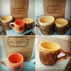 Chops  vikingos  y de diseño de 1 litro y de 1/2 litro. Realizados en torno alfarero  https://www.facebook.com/amayceramica/