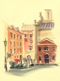 Stockholm - watercolor by Mugur Kreiss