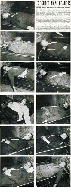 Neurenberg 1946. Executed nazi leaders. From left to right, top to bottom: Frick, Schreicher, Saukel, Jodl, Goering, Keitel, Kaltenbrunner, Rosenberg, Frank and Seyss-Inquart Reichskommissar for the Occupied Netherlands. #worldwar2 #seyss-inquart