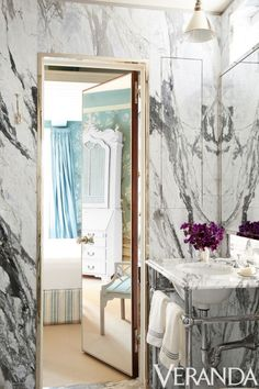 A marble-clad bathroom inside a classic Manhattan apartment boasts a sink by Urban Archaeology and fittings by Waterworks.Image originally appeared in the December 2015 issue of Veranda. INTERIOR DESIGN BY MILES REDD Best Bathroom Designs, Bathroom Design Small, Bathroom Interior Design, Bathroom Ideas, Bathroom Modern, Bath Ideas, Bathroom Inspiration, Master Bathroom, Marble Bathrooms