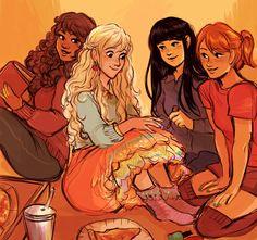 Hermione, Luna, Cho, and Ginny