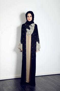 This breath taking lace pearl and crystal abaya is available now from our website for Islamic Fashion, Muslim Fashion, Modest Fashion, Fashion Dresses, Modest Wear, Modest Outfits, Hijab Style, Abaya Style, Arabic Dress