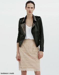 Black leather with studs & lace