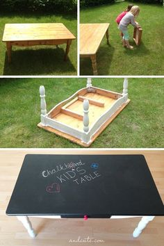 DIY Chalkboard Kid's Table -- Cute idea for a college apartment! Let your friends draw on the table :) black Chalkboard paint! DIY Chalkboard Kid's Table -- Cute idea for a college apartment! Let your friends draw on the table :) black Chalkboard paint! Black Chalkboard Paint, Diy Chalkboard, Chalkboard For Kids, Ideias Diy, Kid Table, Play Table, Couch Table, Lego Table, Toy Rooms