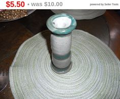 Store Closing Vintage handmade green ceramic candle by EMTWTT