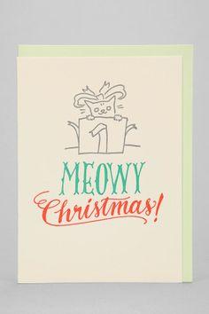 Ladyfingers Letterpress Meowy Holiday Card