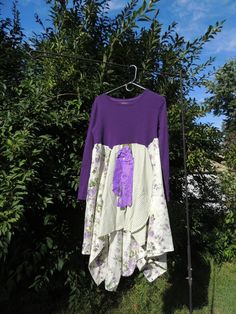 Purple And Green Boho Vintage Upcycled  Top L Xl / by TatteredFx