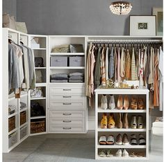 Design the closet of your dreams with our modular collection. Built with all the quality and style of our bedroom furniture, our Sutton components are an optimal addition to your walk-in. Shelves and cabinets can be combined in any configuration t… Modular Closet Systems, Modular Closets, Walking Closet Ideas, Ideas Armario, Organizar Closet, Closet Island, Modular Cabinets, Tall Cabinets, Kitchen Cabinets