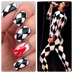 Freddie Mercury mani nail art design- black and white nails Halloween Press On Nails, Halloween Nail Designs, Halloween Nail Art, Crazy Nails, Love Nails, Freddie Mercury Tattoo, Gothic Nail Art, Freedie Mercury, Band Nails