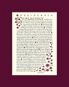 Desiderata Poem by Max Ehrmann. Desiderata posters and prints in beautiful calligraphy. Buy directly from the artist. matted, many sizes and colors. Desiderata Poem, Max Ehrmann, Child Of The Universe, Calligraphy Print, Be Gentle With Yourself, Beautiful Calligraphy, Print Design, Poems, Peace