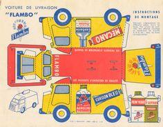 Vintage papercraft van, free to print Cardboard Toys, Paper Toys, Vintage Ephemera, Vintage Paper, Citroen Type H, Paper Car, Doll Painting, Paper Houses, Paper Models
