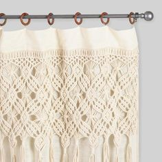 Cost Plus World Market Macrame Curtains with Removable Wood Rings Set of 2#ad