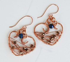 Blue Gold Crystals Unique Copper Wire Wrap My Heart For You Art Earrings #Jeanninehandmade #Wrap