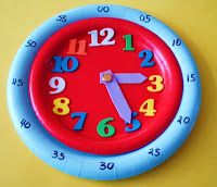 Here's a post with directions for making a number of different paper plate clocks.  Also includes links to some great time telling resources.