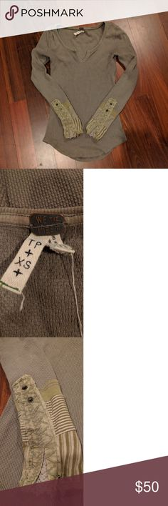 """Free People Kyoto Cuff Thermal Decorative cuff thermal in a grayish olive, """"mushroom"""" color. Size xs. Not worn many times. I think there is slight discoloration on the back neckline from the metal tag, but I think this is only on the inside. Free People Tops Tees - Long Sleeve"""
