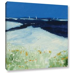 Stuart Roy Beach with Flowers Painting Print on Wrapped Canvas