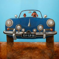 136 PORSCHE 356 BLUE - signed and numbered giclee print of a blue porsche 356 - 14 x 14 cm / 5.5 x 5.5 inch via Etsy.