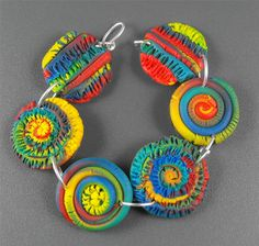 Sunny - Polymer Clay Bracelet - Art Jewelry Magazine Community - Forums, Blogs, and Photo Galleries