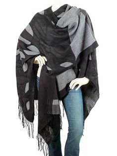 Piazza Sempione Scarf - Charcoal Grey Abstract Poncho Wrap Cape. Wrap Star! This luxurious wool and silk wrap by Piazza Sempione is perfect for tossing over any layered ensemble for that perfect modern-chic finish look.