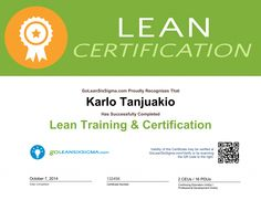 Pre-Register for Lean Training and Save $150! -  Lean Certifcate Example from GoLeanSixSigma.com