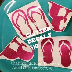 Hot Pink Glitter Decals