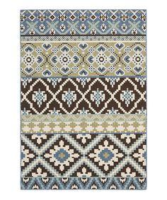 This Chocolate & Blue Gemma Indoor/Outdoor Rug is perfect! #zulilyfinds