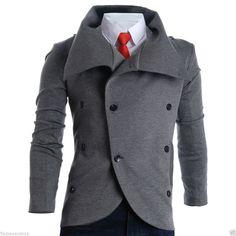 FLATSEVEN Herren Slim Turtleneck Unbalanced Blazer Jacke (BJT01)