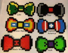 8 Bit Pixel Avengers-Captain America, Thor, Iron Man, Hulk, Black Widow, Loki, Hawkeye hair bow/bow tie perler/hama bead ++FREE coord. charm