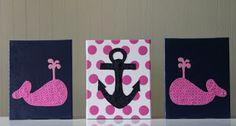 Joanita Bonita: Baby Girl Nautical Decor, Navy and Pink Nursery, Pink Polka Dots