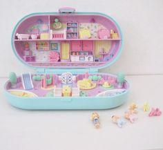 Polly Pocket Compact Vintage Bluebird Stamper Babysitting Daycare Nursery dolls Complete