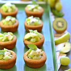 Green Fruit Salad Cookie Cups on MyRecipeMagic.com